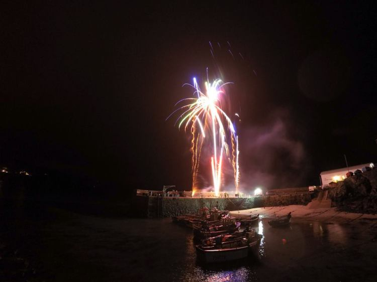 Fireworks on Coverack harbour