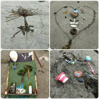 Scavenger hunt beach art